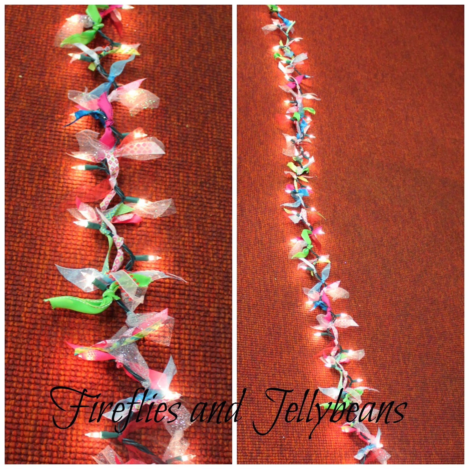 Fireflies and jellybeans ribbon light garland and a for Michaels crafts christmas ornaments