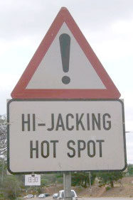 Hi-jacking hotspot road sign