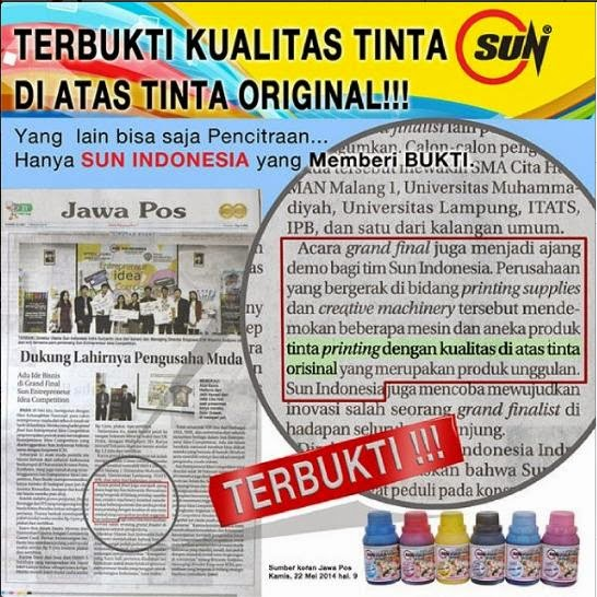 Sun Indonesia, Tinta Refill, Tinta Infus, Tinta Sublim, Photo Paper, Paket Usaha, Sun Valentine Photo Contest, Entrepreneur Idea Competition, Sun Papercraft Photo Contest