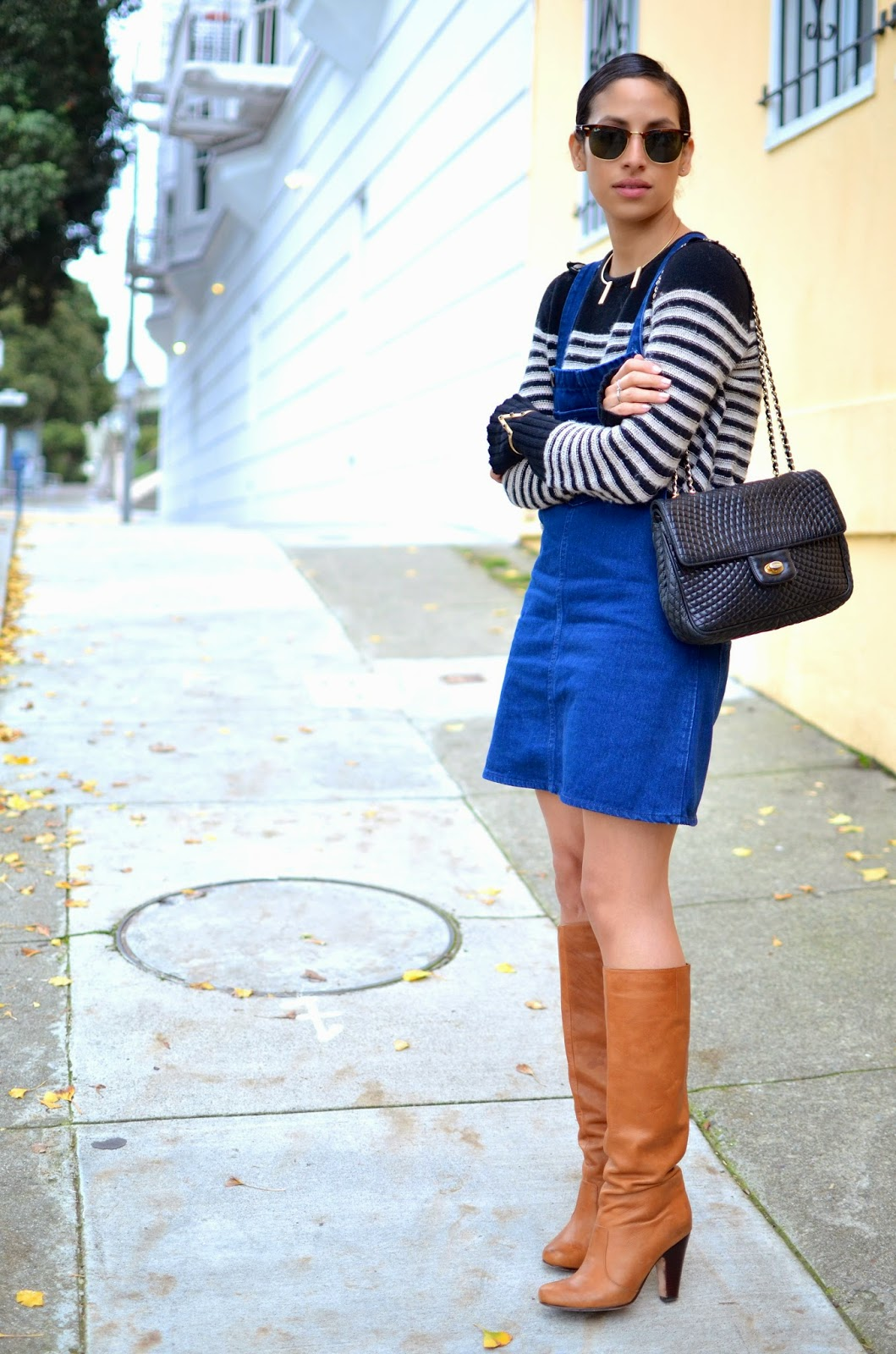 SF style, OOTD, quilted chain link bag, Bally bag, tall cognac boots, SF