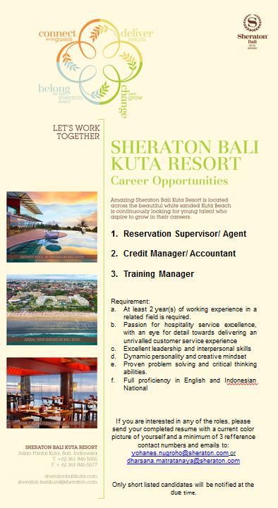 Job Vacancy Sheraton Kuta