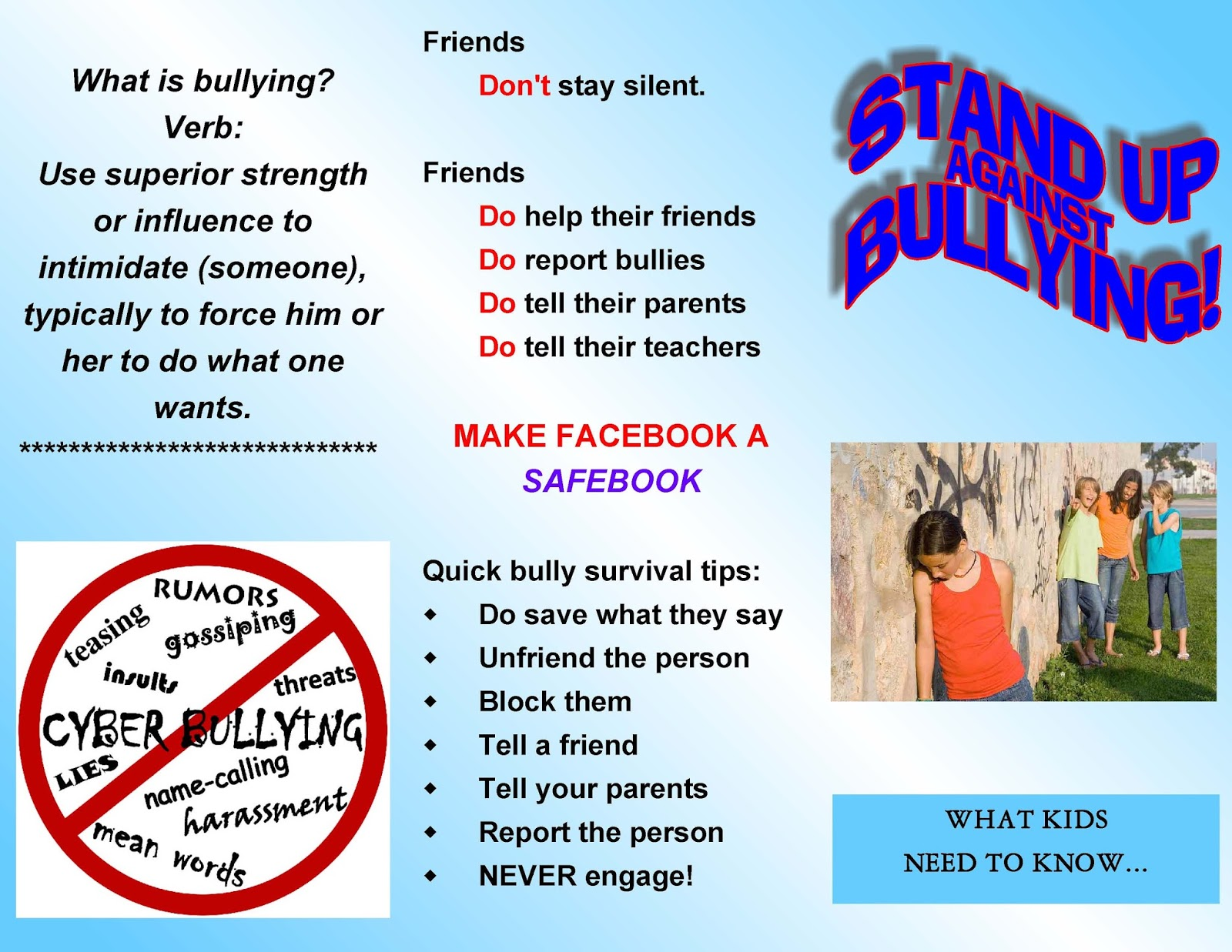 Stand up against bullying brochures brochures altavistaventures Image collections