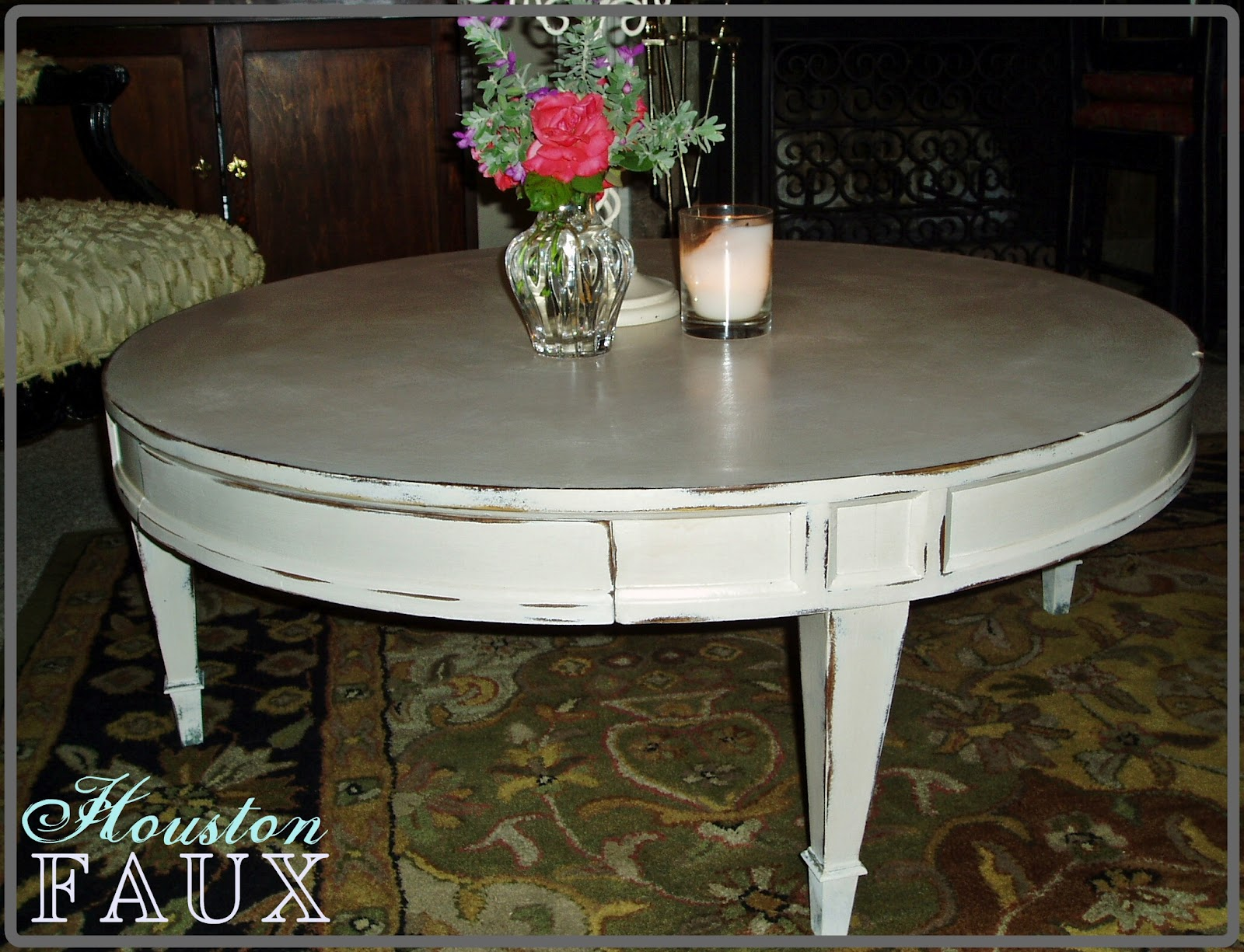 Faux Painting Furniture Back To Basics Round Coffee Table Gets A Shabby Cream Finish