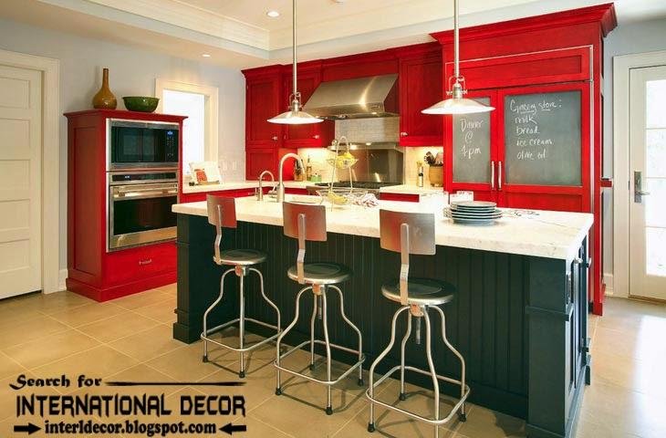color combinations with red color in the interior, red kitchens 2015