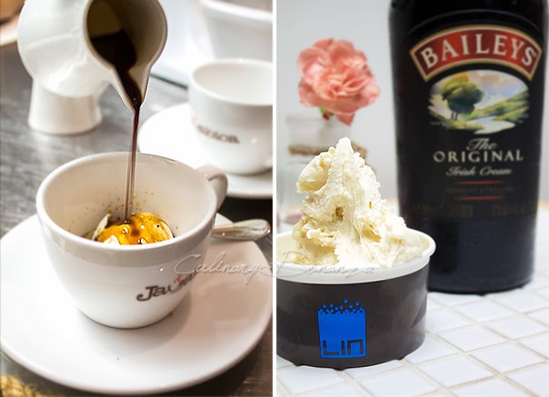 Left: Affogato made with Vanilla ice cream and warm Javabica espresso Right: Smiley Bailey's
