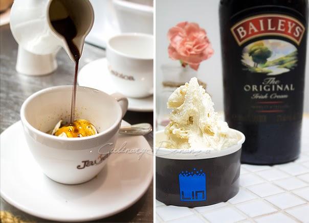 Left: Affogato made with Vanilla ice cream and warm Javabica espresso Right: Smiley Bailey's