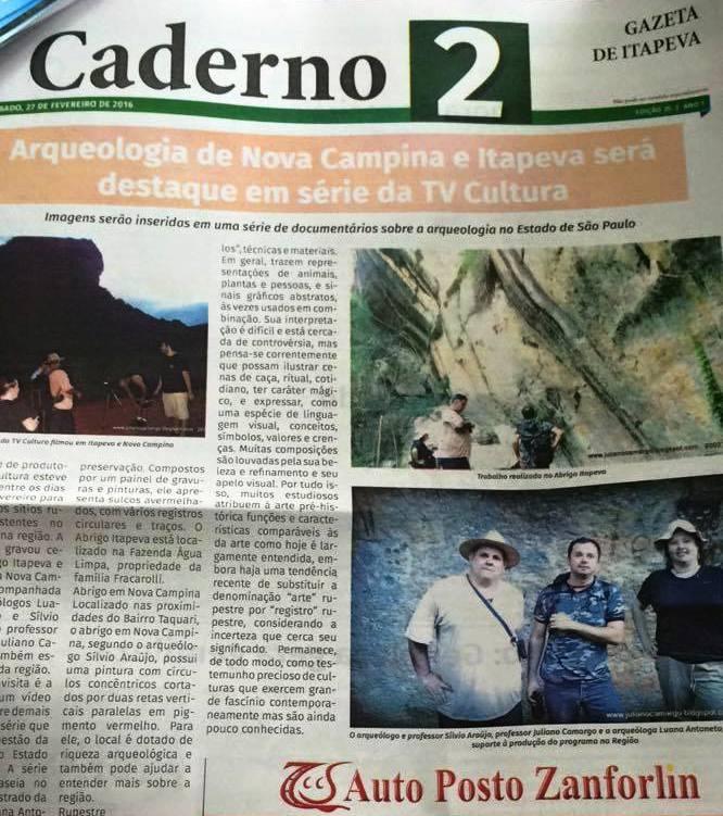"""Matéria """"Arqueologia de Itapeva"""""""
