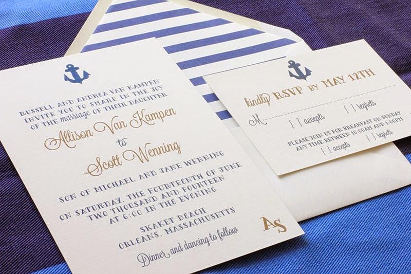 Anchor Wedding Invitation, Navy & Metallic Gold | Blush ...