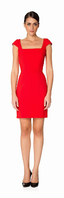 kırmızı klasik kesim elbise
