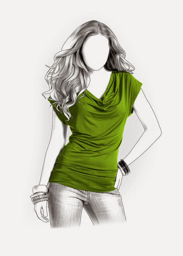 Pattern company's illustration of drape-neck top 4119