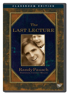 The cover of The Last Lecture book. Randy with child on shoulders
