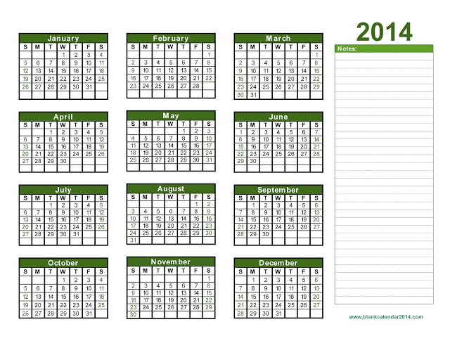 Monthly Calendar 2014 Printable One Page