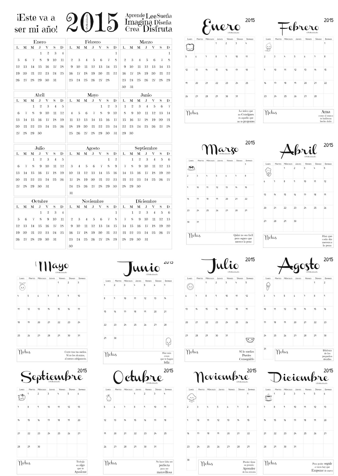 Pa Monísima: Yo: Calendario Anual y Mensual 2015