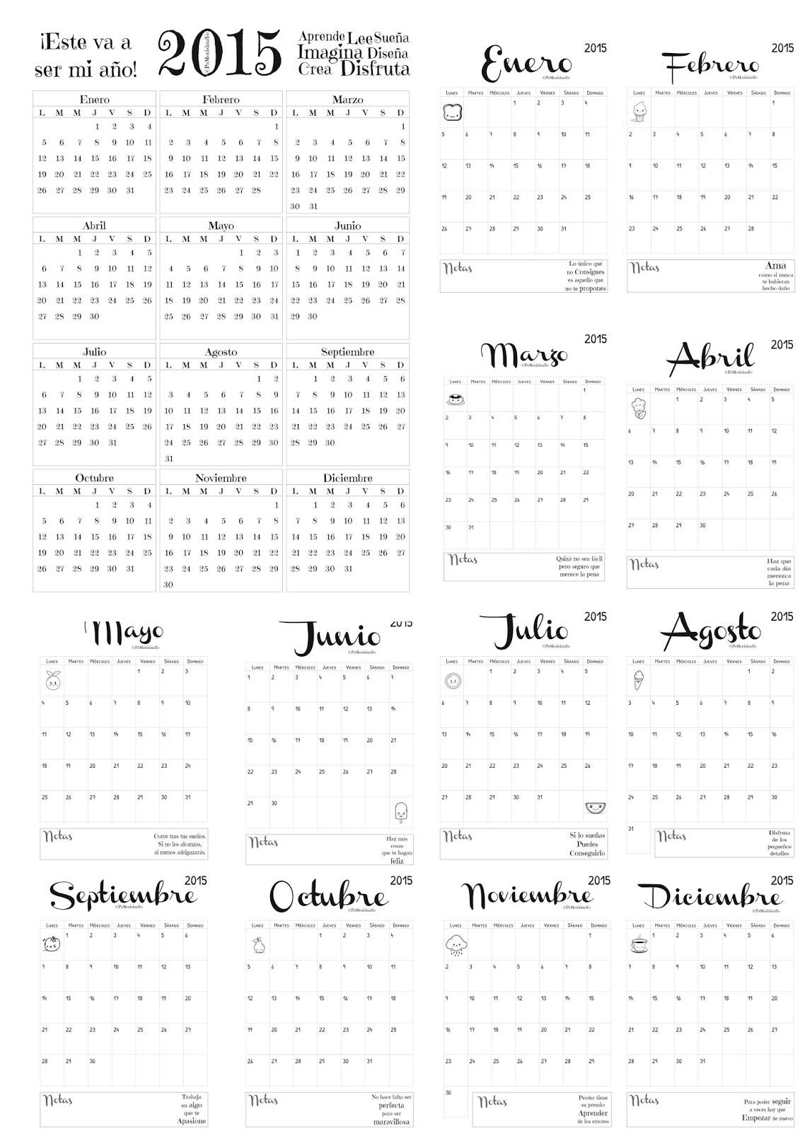 Calendario imprimible 2015 @pamonisimayo