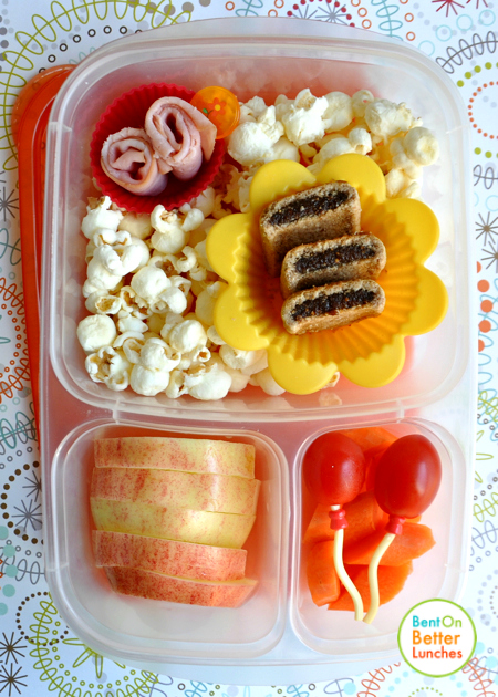 Bento school lunch with tomato balloons