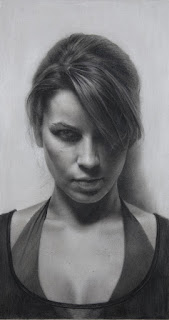 """Laura"" 12 in. x 20 in. / charcoal on toned paper /  2009"
