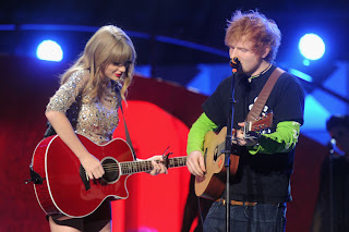 Taylor Swift and Ed Sheeran performing during their recent tour