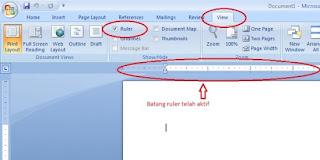 menggunakan ruler ms.word
