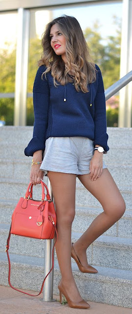Pinstriped Shorts Outfit Idea