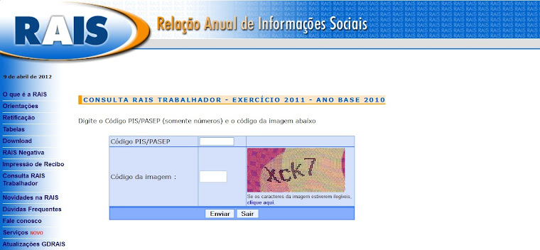 Consulta RAIS Trabalhador - Exercício 2011 - Ano Base 2010