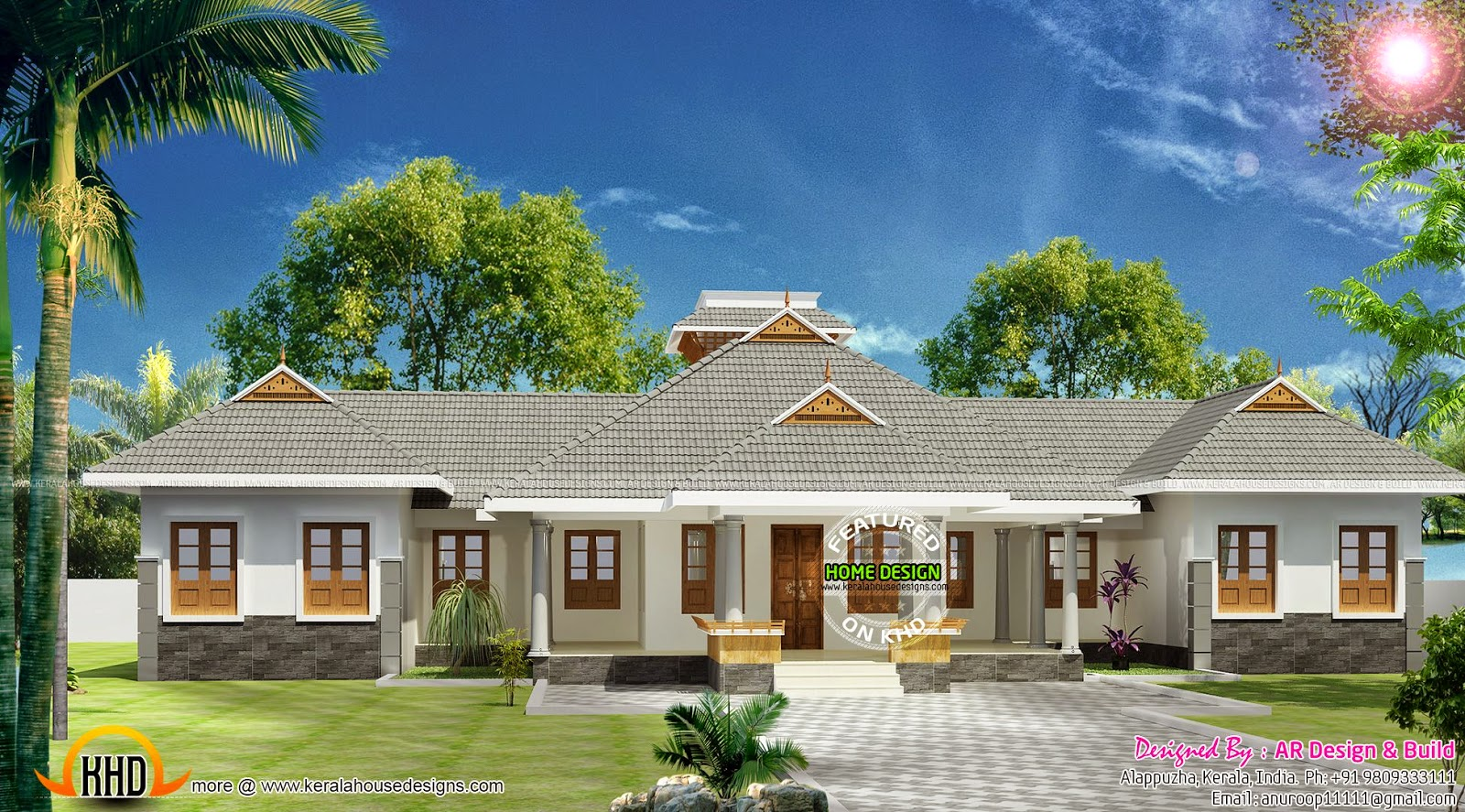 Front Elevation In Kerala : Single floor residence exterior kerala home design and