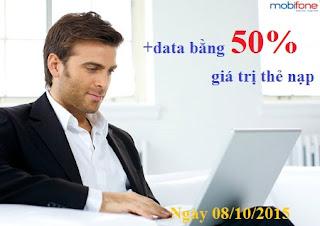 Ưu đãi data bằng 50% cho TB Fast Connect nạp tiền ngày 08/10