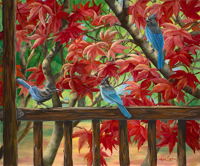 Bluejay- Oil on Canvas by Laura Curtin