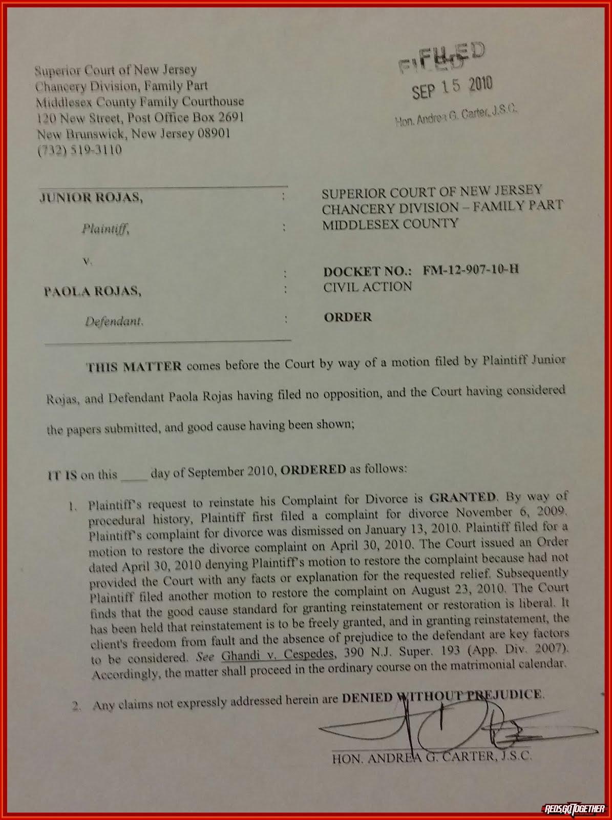 FAMILY COURT = CIVIL ACTION DOCKET # FM-12-907-10H JUNIOR ROJAS PLAINTIFF VS PAOLA ROJAS DEFENDANT