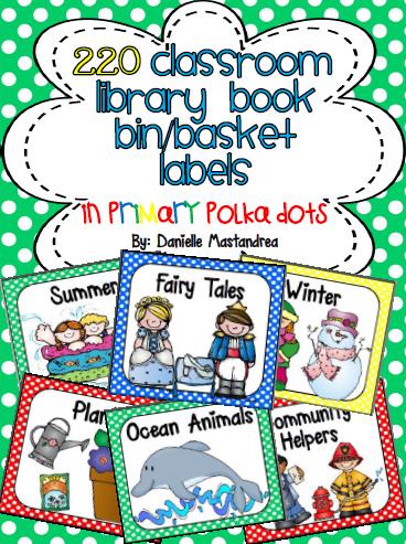 http://www.teacherspayteachers.com/Product/220-Classroom-Library-Book-Bin-Basket-Labels-Primary-Polka-Dots-728294