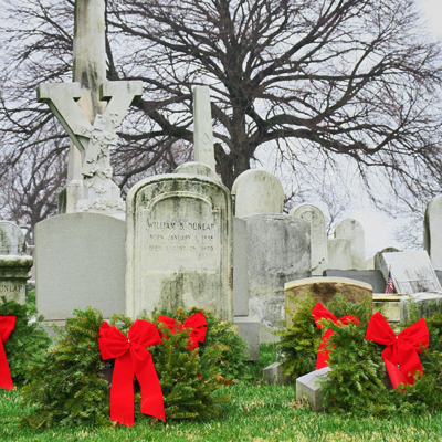 For the special season of Christmas, I'm putting aside my usual erudite,  logical, and authoritative prose (stop laughing, I can HEAR you) – to  examine why ... - The Cemetery Traveler - By Ed Snyder: Grave Decorations - Christmas