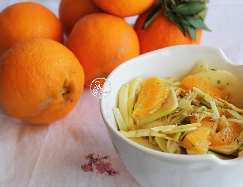 insalata di carciofi, mela e arancia di sara papa e 100% gluten free (fri) day