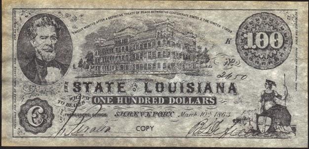 100 конфедеративных долларов, 1863 год, штат Луизиана