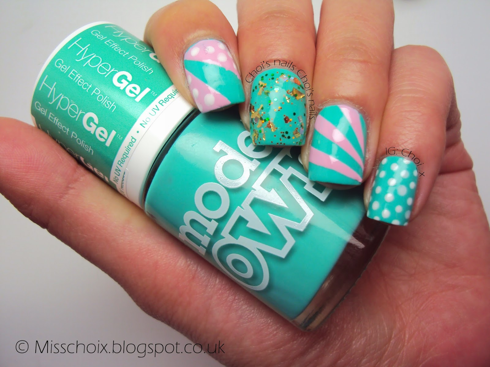 pink and turquoise retro nails with models own - choi's nails