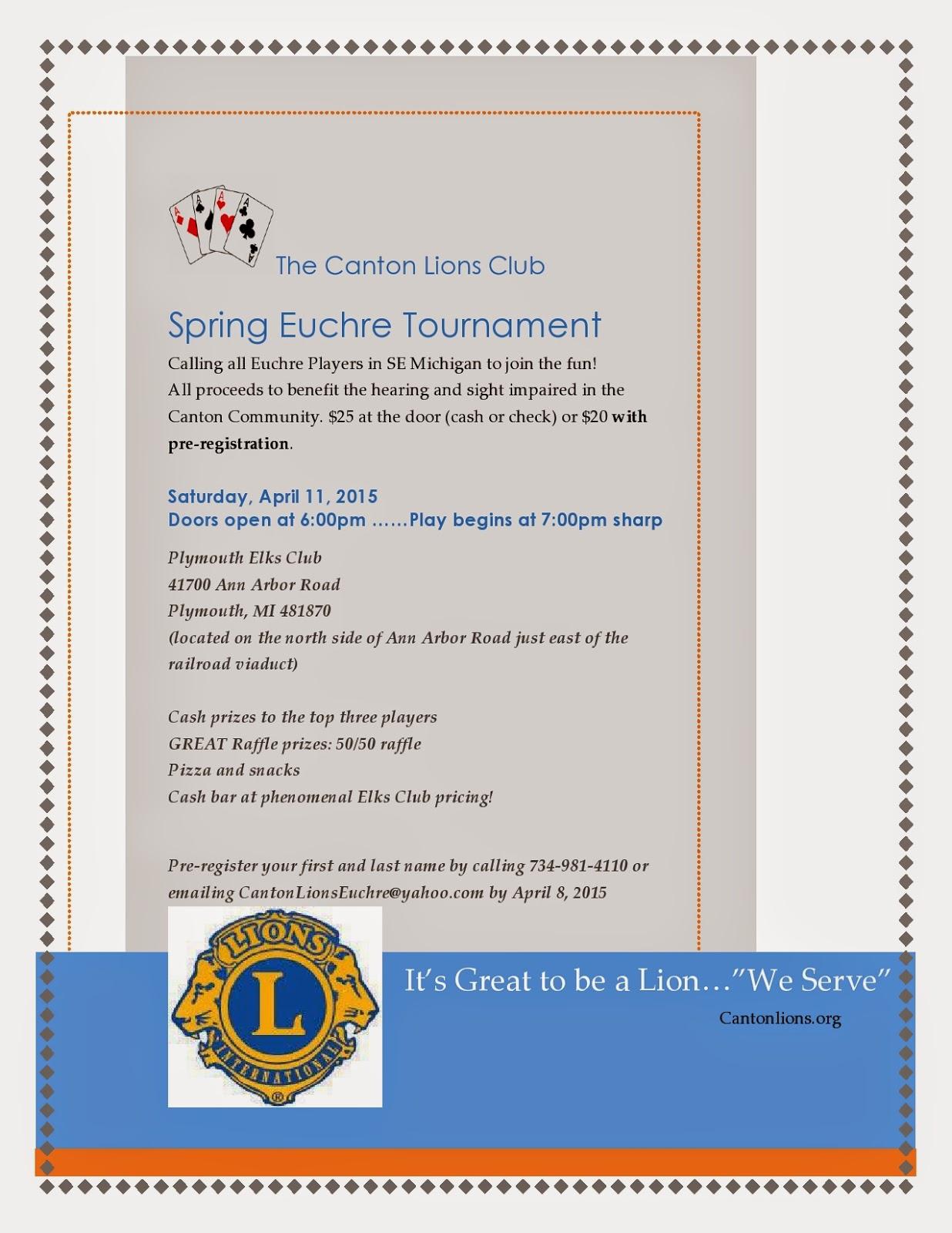 Lions Euchre Tournament Fundraiser