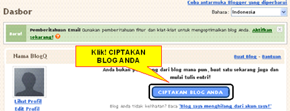 Tombol Ciptakan Blog Anda