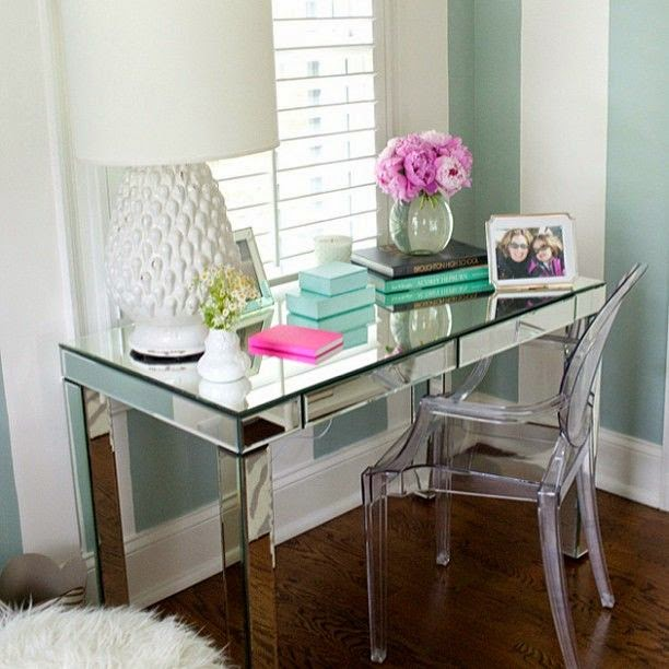 Mirrored desk and chair