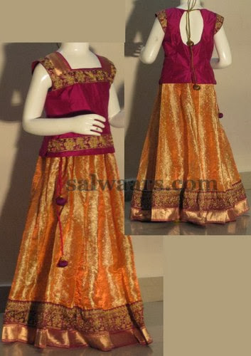 Peach Lehenga for Big Kids