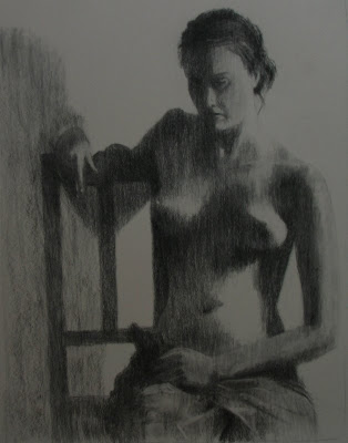 May's Second Charcoal - seated nude - Stephen Scott, Cape Town Artist