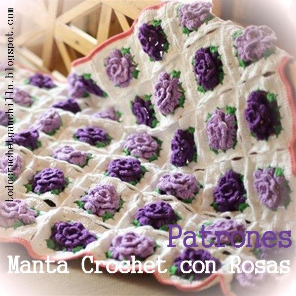 manta con flores en 3 d tejida al crochet