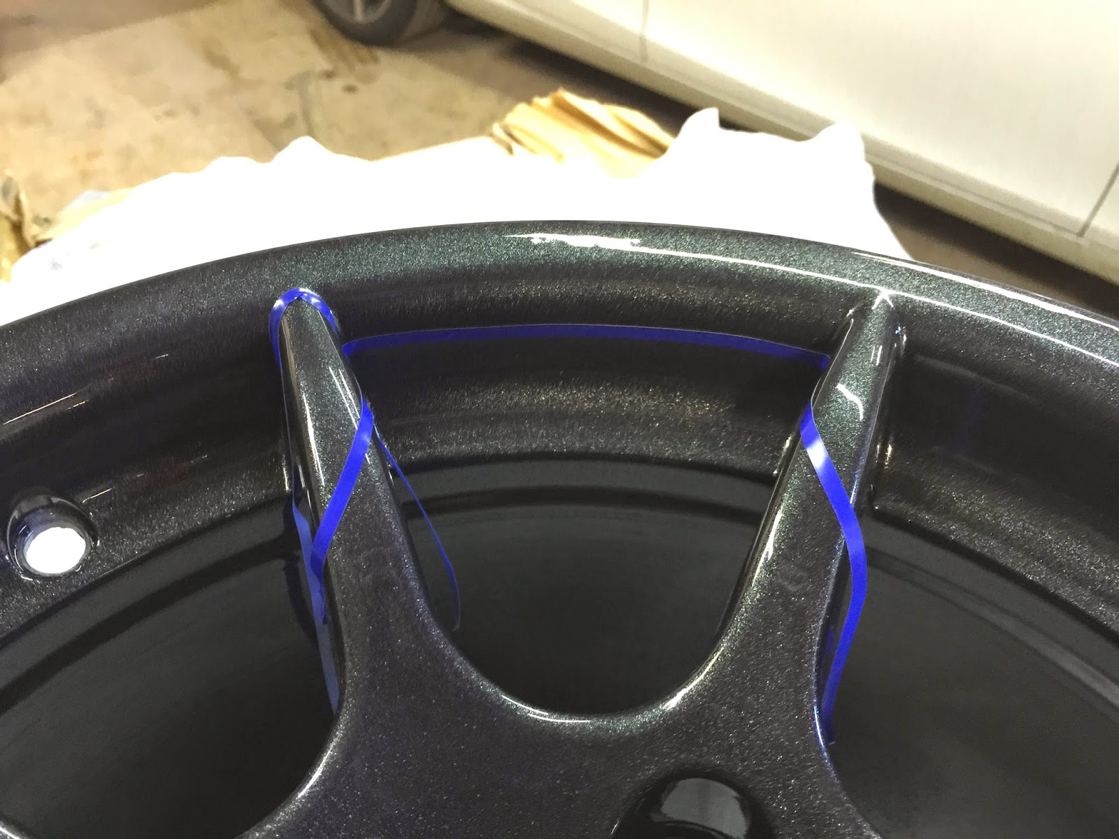 New wheels with a sample mask laid onto rim.