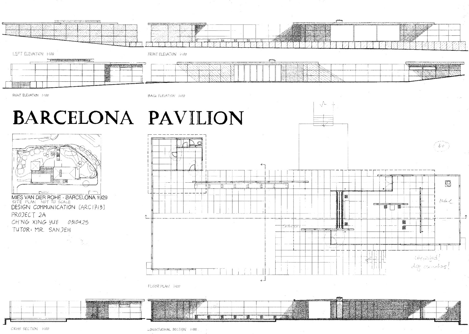 Barcelona pavilion plan - Project 2 A Orthographic Projections