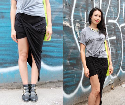 Celine Me Alone graphic tee, Urban Outfitters asymmetrical drape maxi skirt, ShoeMint Francoise boots, J. Crew neon yellow mini bag, MAC RiRi Woo lipstick
