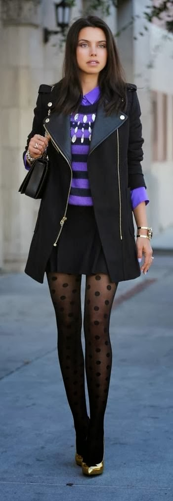 Polka Dots Leging, Stripes Sweater With Black Jacket And Golden Heel