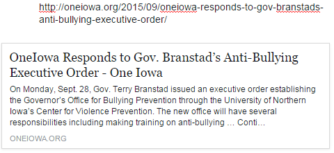 OneIowa Responds to Gov. Branstad's Anti-Bullying Executive Order
