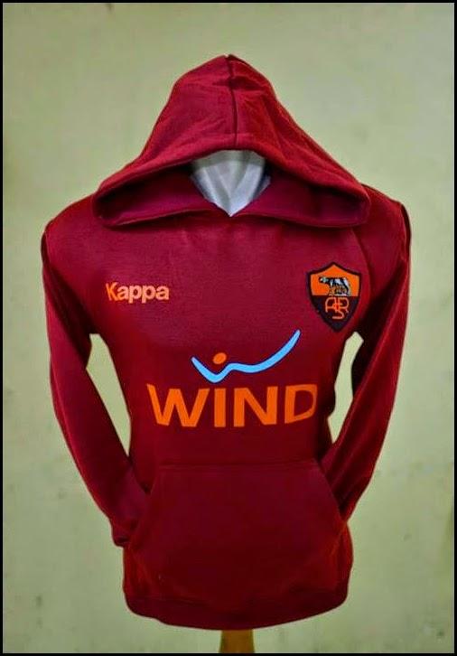 Jumper Hoodie Bola Polos (Satu Warna) - As Roma Merah Maroon