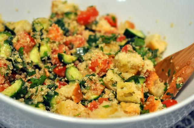 Quinoa Salad with Sourdough Croutons | Taste As You Go
