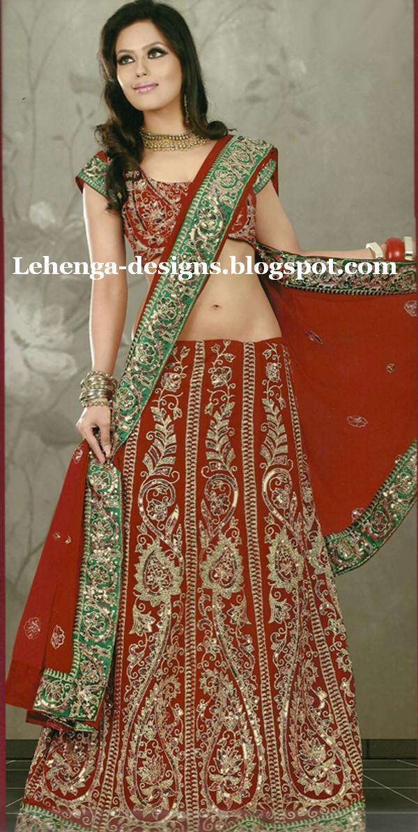 New Bridal Lehenga Choli Designs Indian Pakistan Wedding Dress Fashion Style 2012 201314 Indian