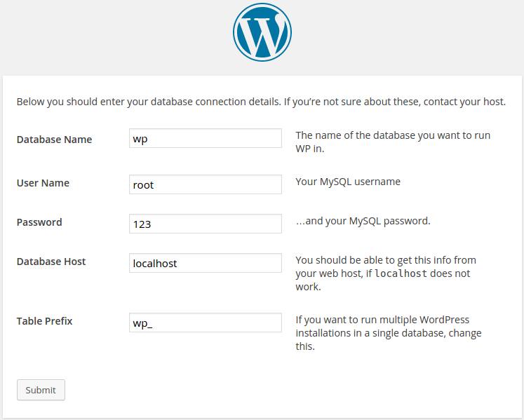 instal wordpress step 2