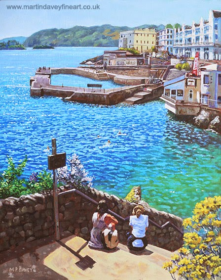 Coast of Plymouth City, UK – acrylic painting M P Davey artist
