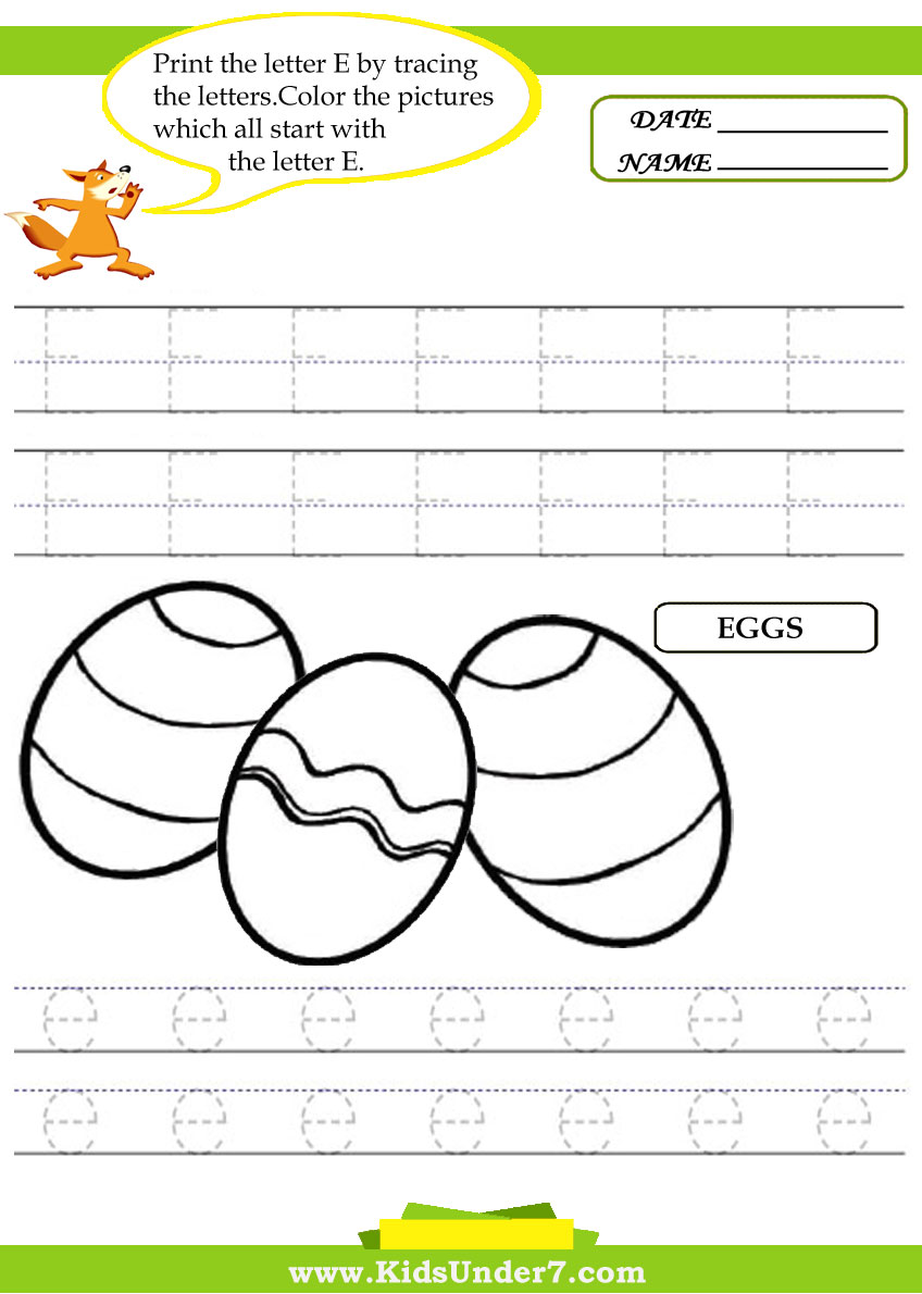 math worksheet : kids under 7 alphabet worksheets trace and print letter e : Letter E Worksheets Kindergarten